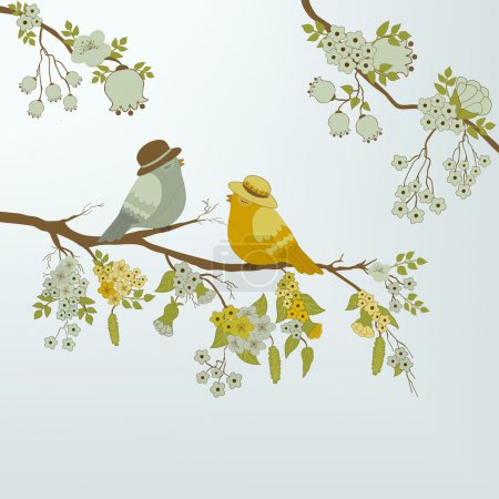 Illustration for Cute birds on branch with flowers and leafs - Royalty Free Image
