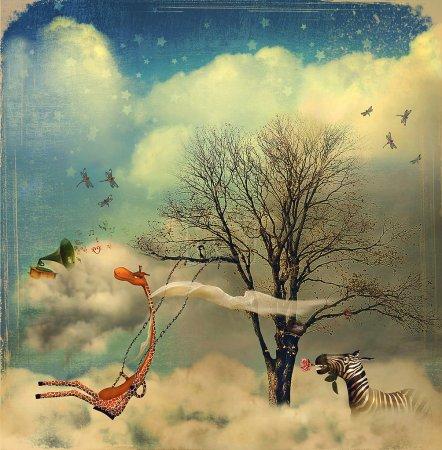Photo pour L'illustration montre les relations romantiques entre une girafe et un zèbre - image libre de droit