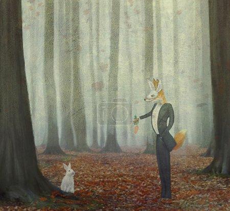 Photo pour Le renard et le lièvre volent par des ballons multicolores - image libre de droit