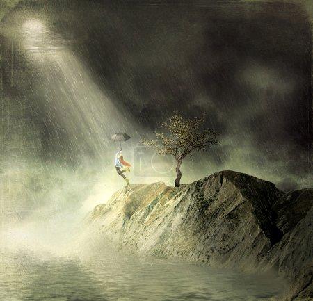 Night.Dance in the rain.