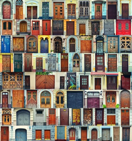 Photo for Collage of Kiev front doors,Ukraine - Royalty Free Image