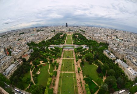 Paris center aerial view at day time, wide angle of view