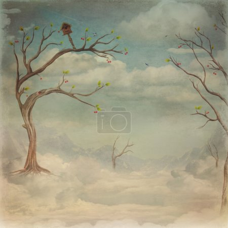 Green trees and cloud sky background