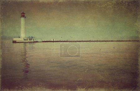 Маяк в заливе (винтажный стиль )