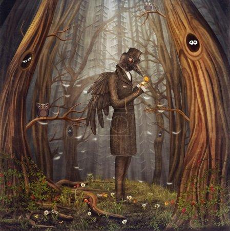 Photo pour Illustration montrer Corbeau dans la forêt . - image libre de droit
