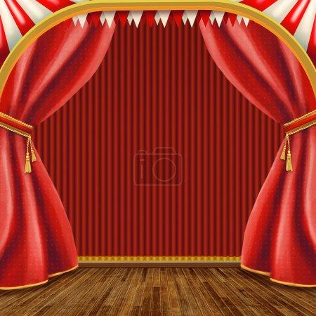 Photo pour Scène de théâtre avec rideau rouge - image libre de droit