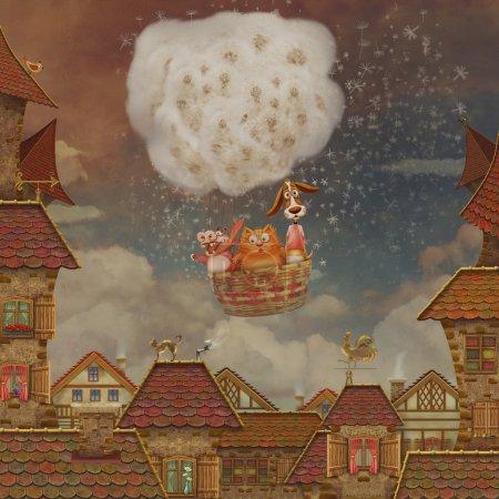Photo pour Vue sur les tuiles rouges et ciel nuageux sur le fond - image libre de droit
