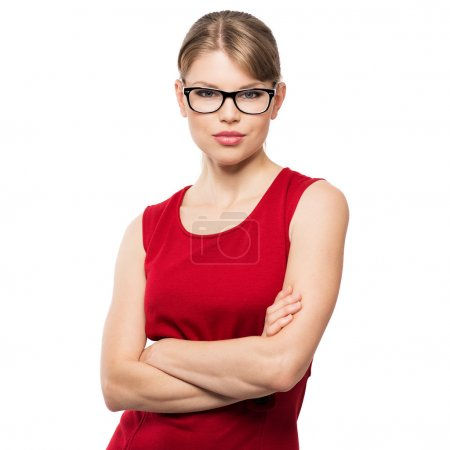 Photo for Beautiful stylish optician woman posing in studio in modern eyeglasses. Young attractive Caucasian fashion female model in spectacles, isolated on white background. - Royalty Free Image