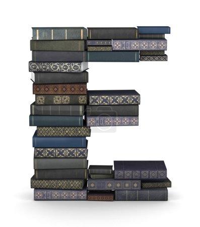 Letter E, stack of books