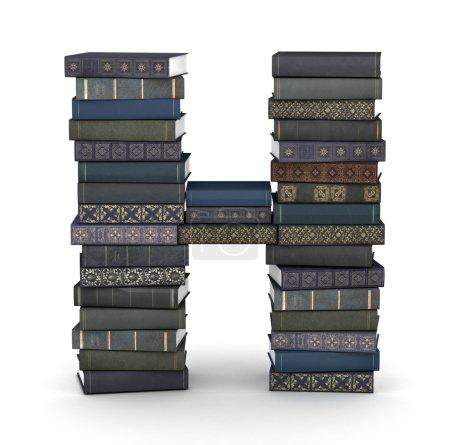 Buchstabe h, Stapel Bücher