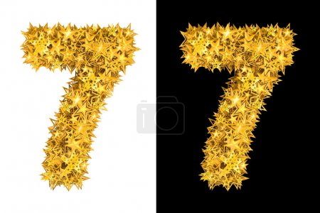 Gold shiny stars number 7
