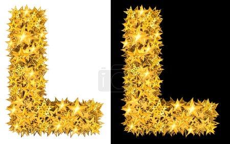 Photo pour Or étoiles brillantes lettre L, fond noir et blanc - image libre de droit