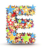 Letter E, from bright colored holiday stars staked
