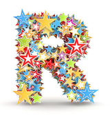 Letter R, from bright colored holiday stars staked