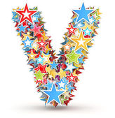 Letter V, from bright colored holiday stars staked