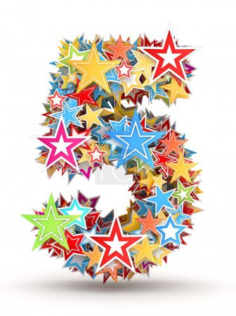 Photo for Number 5, from bright colored holiday stars staked - Royalty Free Image