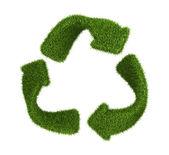 Recyklované symbol z trávy. izolované na bílém