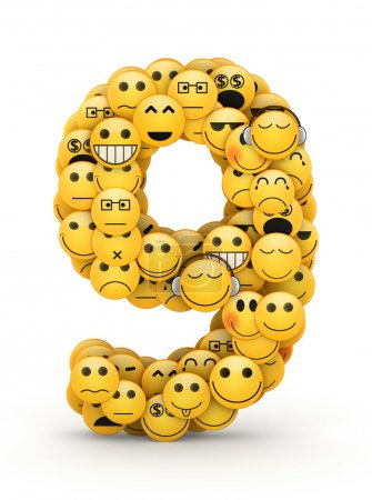 Photo for Number 9 compiled from Emoticons smiles with different emotions - Royalty Free Image