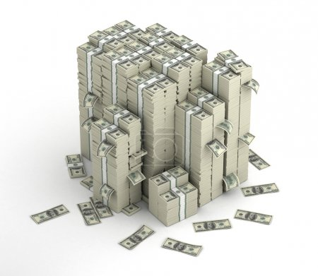 Photo pour Plusieurs colonnes de dollars paquets d'argent et des billets éparpillés - image libre de droit