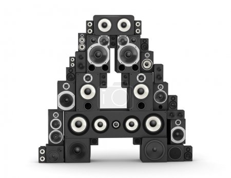 Photo for Letter A from black hi-fi speakers sound systems - Royalty Free Image