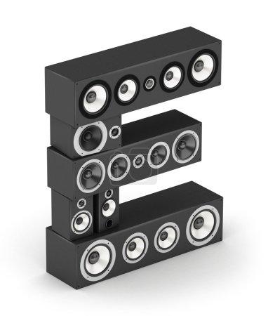 Photo pour Lettre E de haut-parleurs hi-fi noirs systèmes sonores en isométrie - image libre de droit