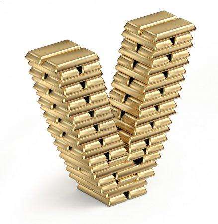 Letra V de barras de oro