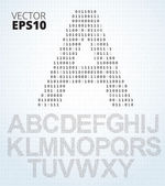 Letter A-Z alphabet from binary code