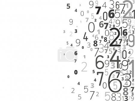 Illustration pour Fond noir vectoriel de différents nombres typographie de droite - image libre de droit