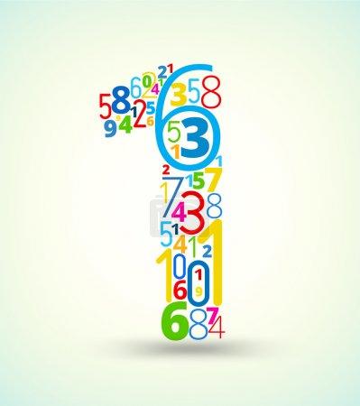 Illustration pour Numéro 1, de la police vectorielle de typographie de nombres de couleur arc-en-ciel - image libre de droit