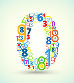 Number 0 colored vector font from numbers