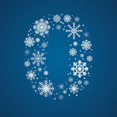 Number 0 vector font frosty snowflakes