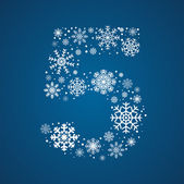 Number 5 vector font frosty snowflakes