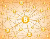 Bitcoin Netzwerk gelb Hintergrund