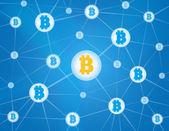 Bitcoin network blue background