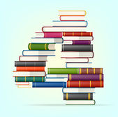 Number 4 Stacks of multi colored books vector illustration