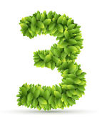 Number vector alphabet of green leaves