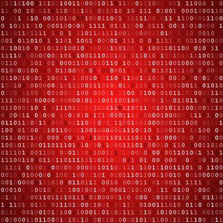 Illustration pour Ordinateur rouge code binaire écran vecteur arrière-plan - image libre de droit