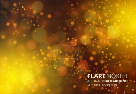 Illustration for Vector fire-like bokeh abstraction background. Dark yellow palette defocused illustration - Royalty Free Image