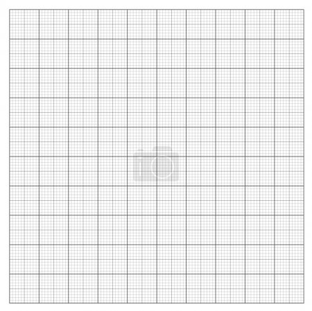 Illustration for Gray grid paper - technical engineering line scale measurement 100mm patch, vector - Royalty Free Image