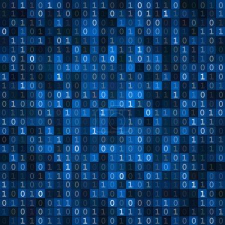 Illustration pour Cryptographie bleue encodage écran ordinateur code binaire pixels fond - image libre de droit