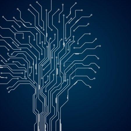Illustration pour Arbre de circuit imprimé. Contexte du concept Hi-tech. Vecteur . - image libre de droit