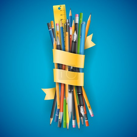 Illustration for Colorful batch of pencils and pens with  ribbon for your text, vector illustration on blue background. - Royalty Free Image