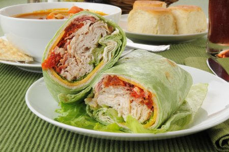 Turkey or chicken wrap with vegetable beef soup