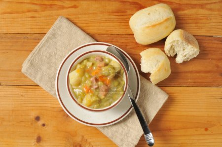 Split pea soup and rolls