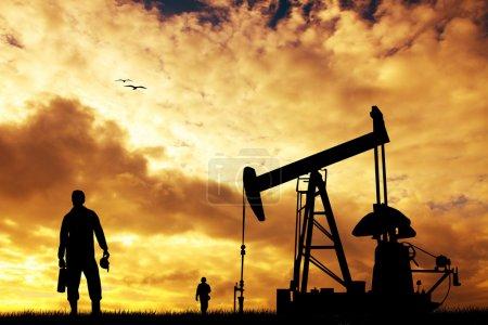 Photo pour Pompe à huile au coucher du soleil - image libre de droit