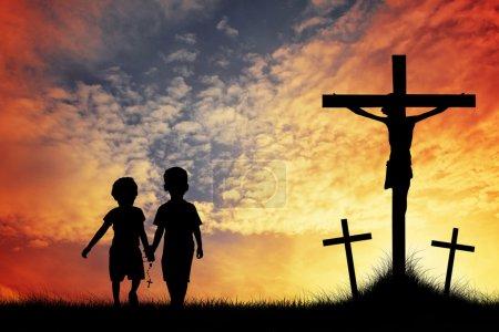 Photo for Children pray Jesus - Royalty Free Image