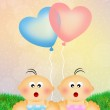 Brothers with heart balloons...