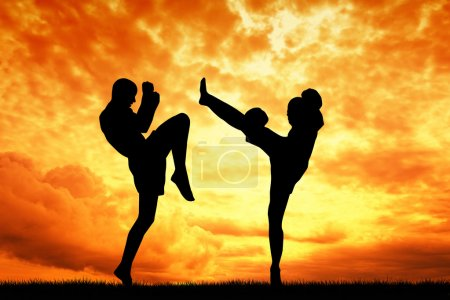 Photo for Muay thai at sunset - Royalty Free Image