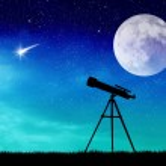 Illustration of telescope silhouette...
