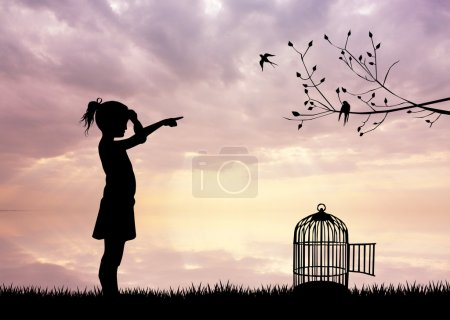 Girl with bird cage